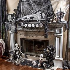 The Domestic Curator: 101 Awesome Halloween Decorating Ideas For Your Fireplace Mantel