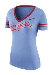 Nike Texas Rangers Womens Light Blue Fan Top V-Neck