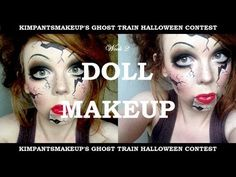 ▶ KimpantsMakeup's Ghost Train: Week 2 - Broken Doll Halloween Makeup Tutorial - YouTube