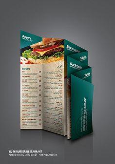 Restaurant Folding Delivery Menu by Ahmad Kattan, via Behance Menu Card Design, Food Menu Design, Burger Restaurant, Restaurant Menu Design, Healthy Meals For Two, Healthy Living Tips, Delivery Menu, Mexican Menu, Menu Flyer