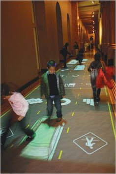 This might be a good idea for wayfinding? Or floor projection that indicates the location where the visitors are in