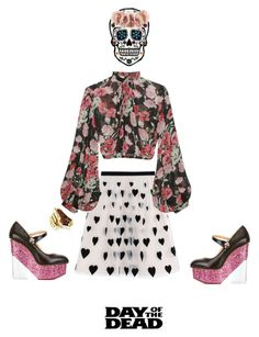 """Skull Ann"" by klynnmorton ❤ liked on Polyvore featuring art and Dayofthedead"
