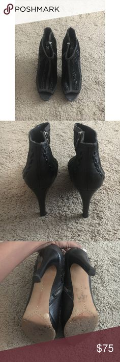 Vince Camuto leather heels This is a pair of Vince Camuto leather suede boots. They're about 3.5 inches. Probably the comfiest shoes I've owned. Super cute with jeans! A little scratch at heels and front of shoe but not noticeable.   Feel free to make an offer   Dc Vince Camuto Shoes Heeled Boots