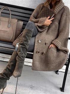 Loose solid color knit cardigan Loose solid color knit cardigan – Zobrain Record of Knitting Yarn rotating, weaving and stitching jobs such as BC. Knit Fashion, Look Fashion, Winter Fashion, Cardigan Fashion, Womens Fashion, Dress With Cardigan, Sweater Cardigan, Winter Outfits, Summer Outfits