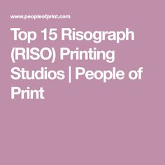 For both amateurs and professionals looking to experiment with colour and paper, here's something for you. Today, Marcroy and I would like to introduce you to fifteen of the UK's… Riso Printing, Experiment, How To Introduce Yourself, Studios, Colour, Prints, People, Tops, Color
