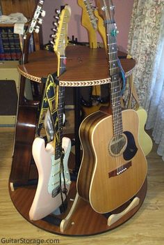 This customer used the Carousel™ Deluxe Multiple Guitar Stand to hold 6 guitars in just 3 ft of space in a room corner. More details at https://guitarstorage.com/shop/multiple-guitar-stand-carousel/