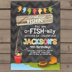 Fishing Birthday Invitation Fishing party by Anietillustration