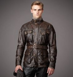 Shop the Panther jacket from Belstaff. This hand-waxed black-brown leather jacket, inspired by Belstaff's Trialmaster, exhibits an enviably worn-in aesthetic. Classic Leather Jacket, Best Leather Jackets, Men's Leather Jacket, Leather Men, Jacket Men, Leather Fashion, Mens Fashion, Waxed Cotton Jacket, Trench Coat Men
