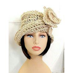 Crochet Sun Hat Floppy Sun Hat Floppy Hat Womens Hat Trendy Crochet Hat Hemp Hat Natural Hat Crochet Flower OMBRETTA 1920s Cloche Hat by strawberrycouture by #strawberrycouture on #Etsy
