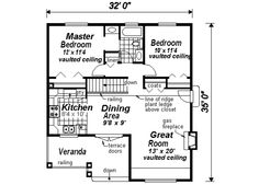 Craftsman Style House Plan - 2 Beds 1 Baths 940 Sq/Ft Plan #18-1042 Main Floor Plan - Houseplans.com.  Washer and Dryer closet and w/h hvac storage in place of stairs.  No plant ledge...just a dust collector and you know I'm going to forget about those poor plants stuck up on that shelf.   Would love to have a door or a wall to close the bathroom off from the master bedroom.