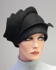 Felted sculpture hat Black stylish madam by doseth on Etsy, €50.00