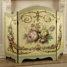 Victorian Rose Fireplace Screen Multi Pastel