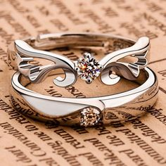 1 Pairs Charm Silver Open Rings For Women Bijoux Crystal Wing Engagement Wedding Jewelry anel masculino Couple Rings For Lovers Silver Wedding Rings, Diamond Wedding Rings, Wedding Ring Bands, Wedding Jewelry, Silver Rings, Band Engagement Ring, Engagement Jewelry, Engagement Ring Settings, Engagement Couple