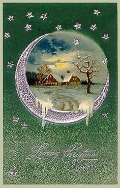 Violet moon/winter scene ~ Christmas card