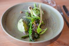 Green asparagus, asparagus cream, grilled spring onion, ramsons, garlic mustard, chive blossoms and crispy chicken skin. Ordering a taxi in Bornholm can take some waiting time. I actually ordered this dish as an extra while waiting for mine.