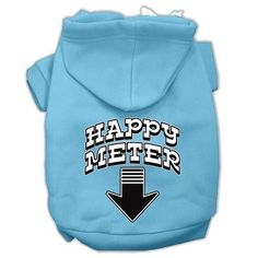 Happy Meter Screen Printed Dog Pet Hoodies Baby Blue Size Med (12)