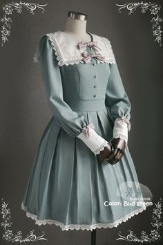 This is the new design Lolita OP dress from Penny House (An indie popular taobao brand), featuring detail oriented square collar, beautiful trim, detachable bows, etc. Pretty Outfits, Pretty Dresses, Beautiful Dresses, Cute Outfits, Emo Outfits, Stylish Outfits, Kawaii Fashion, Cute Fashion, Rock Fashion