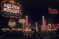 The lights of Sin City haven't always been so bright. Taken in 1955, this vintage shot of Las Vegas shows a surprisingly peaceful looking gambler's paradise.