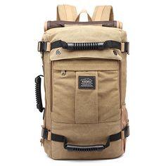 Men Canvas Large Capacity Multifunctional Backpack Weekend Duffle Bag Travel Outdoor Bag