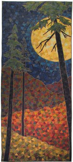 "'The Moon is a Mirror'  - by Terry Grant / And Sew It Goes;  It is comprised almost entirely of triangles cut from shirting fabrics and is 24"" x 60"".  It is one of 33 chosen for the Dinner at Eight juried show, ""Reflections.""  (2014) For its statement Grant wrote a haiku: The moon is a mirror. Without its own light, It reflects the sun's face."