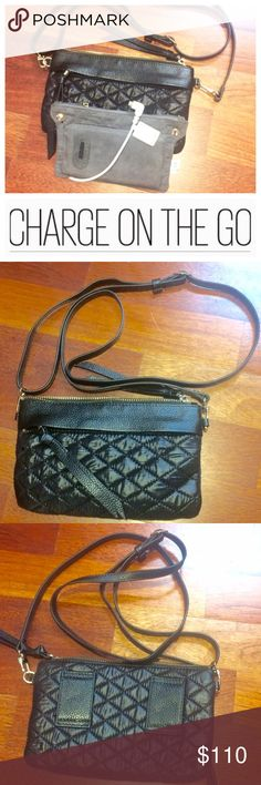 Handbag Butler/Mighty crossbody Perfect for long days out and great evenings full of fun!  This black quilted design Mighty purse by handbag Butler has a a charger to charge your smartphone on the go.  This purse can be used cross body, as a wristlet, a waist bag or shoulder bag.  Features an exterior zipper, one interior zipper and 2 card/ID size slip pockets.  May require additional adapter.  🚫trades. Handbag Butler Bags