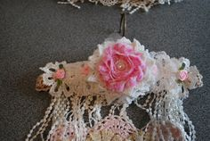 shabby chic doily wallhanging created for my swap partner Jean W. - detail hanger