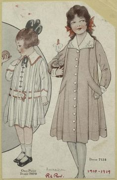 1910 children's Easter/spring outfit. Color illustration. Great for cut out.