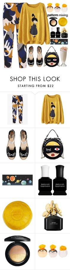 """""""Head to toe pattern mixing"""" by jan31 ❤ liked on Polyvore featuring Monki, Karl Lagerfeld, York Wallcoverings, Deborah Lippmann, Marc Jacobs, MAC Cosmetics and Dot & Bo"""