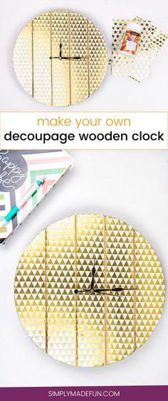 Decoupage Wooden Clock | Home Decor | Paper Crafts | Decoupage Crafts | Decoupage Ideas | Wooden Clock DIY | Home Decor Crafts