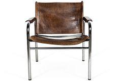 Leather & Chrome Chair, Brown
