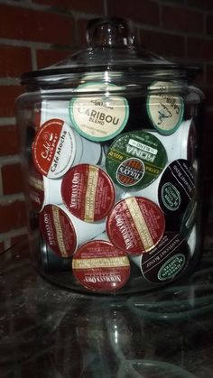 Great way to store K Cup coffee assortment for Keurig so you can see them.  $10 glass storage jar from WalMart.