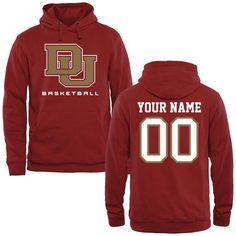 Denver Pioneers Personalized Basketball Pullover Hoodie - Crimson