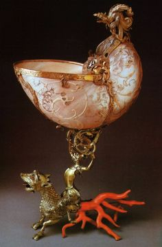 Cup from the sink First half of the 17th century part of the rim of the wizard and. x. Koehler. Dresden. 1724