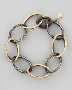 Midnight & 18k Gold Twisted Diamond Link Bracelet by Armenta at Neiman Marcus.