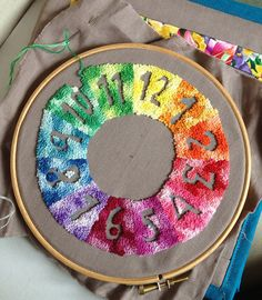 French Knot Clock Face by Littlelixie on Flickr