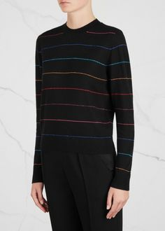 Black striped wool blend jumper