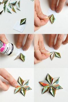 No Origami - but very inspiring Origami Paper, Diy Paper, Paper Crafts, Diy Crafts, Recycled Crafts, Papier Diy, Paper Ornaments, Candy Cards, Paper Stars