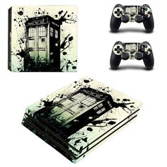 Police Public Call Box ps4 pro skin decal for console and 2 controllers