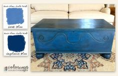 I started with a solid coat of Napoleonic Blue and then added a light wash of Greek Blue. Clear Wax to seal and Dark Wax for shadows. Diy Furniture Repair, Paint Furniture, Furniture Makeover, Trunk Makeover, Repainting Furniture, Blue Furniture, Annie Sloan Chalk Paint Projects, Annie Sloan Paints, Cedar Chest Redo