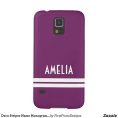 Deco Stripes Name Monogram Purple White Galaxy S5 Covers