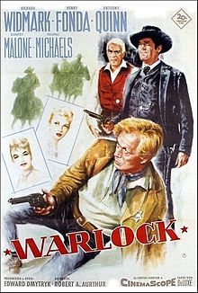 Warlock is a 1959 film, released by Twentieth Century Fox and shot in DeLuxe Color and CinemaScope. It is a Western adapted from the novel by Oakley Hall (screenplay written by Robert Alan Aurthur). Directed by Edward Dmytryk, it stars Richard Widmark, Henry Fonda and Anthony Quinn.