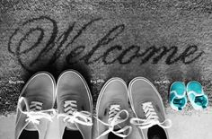 Baby Gender Announcement, the welcome mat part is really cute :)