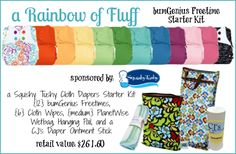 A Rainbow of Fluff  Win a bumGenius Freetime Starter Kit from Squishy Tushy Cloth Diapers {RV: $261.60}