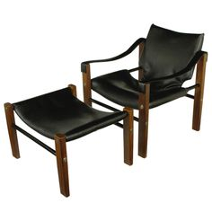 "Maurice Burke For Arkana ""Safari"" Lounge Chair and Ottoman 