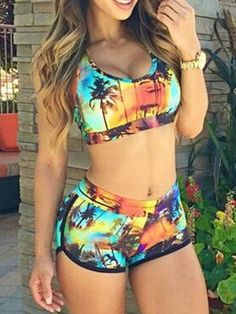 Coconut Tree Print Crop Bikini Top and High Waisted Bottom | Choies...can I get this in solid black??