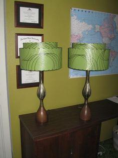 Pair Of Mid Century Vintage Style 2 Tier Fiberglass Lamp Shades Modern  Atomic OG   EBay