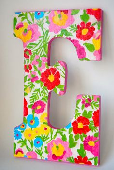 Lilly Pulitzer letters. Lovee! Could buy a letter at hobby lobby and modge podge Lilly patterns onto it!