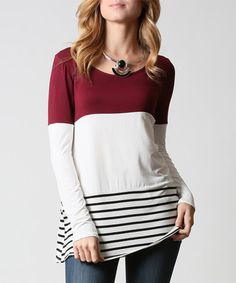 Another great find on #zulily! Burgundy & White Stripe & Color Block Tunic #zulilyfinds