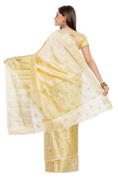 Shop Off White And Golden Art Kanchipuram Silk Saree With Blouse by Aayori Sarees online. Largest collection of Latest Sarees online. ✻ 100% Genuine Products ✻ Easy Returns ✻ Timely Delivery
