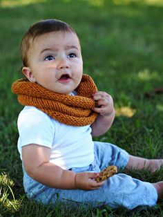 baby knit cowl orange organic cotton. by AuntiEmObrien on Etsy